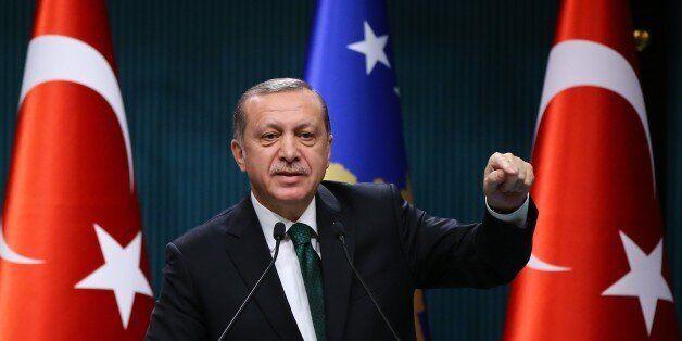 ANKARA, TURKEY - DECEMBER 29: Turkish President Recep Tayyip Erdogan and President of Kosova, Hashim...