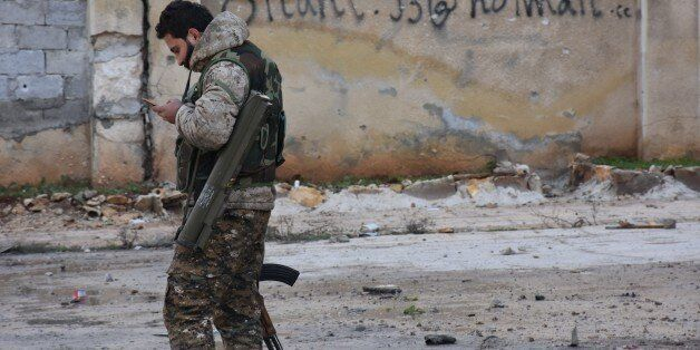 A picture shows the former rebel-held Zebdiye district in the northern Syrian city of Aleppo on December...