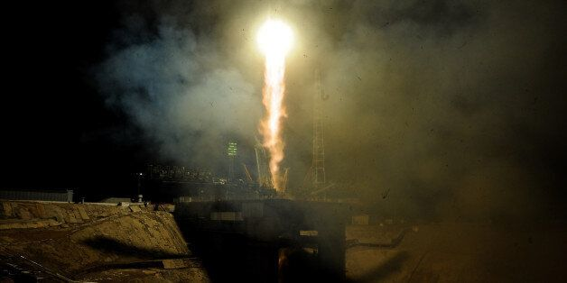 Russia's Soyuz MS-03 spacecraft carrying the International Space Station (ISS) crew, France's astronaut...