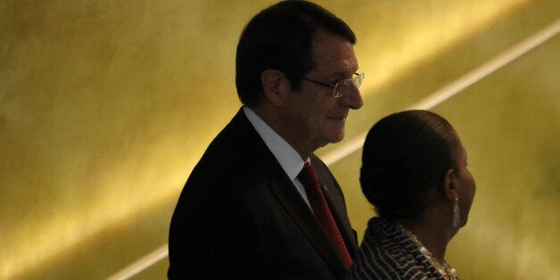 President Nicos Anastasiades of Cyprus arrives to address the 71st United Nations General Assembly in...