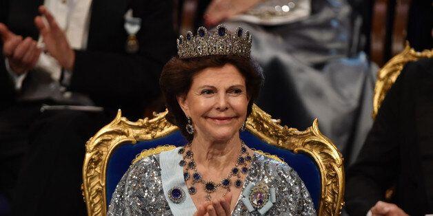 STOCKHOLM, SWEDEN - DECEMBER 10: Queen Silvia of Sweden attends the Nobel Prize Banquet 2015 at City...
