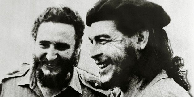Fidel Castro (1926-), Cuban politician and revolutionary, left, and Ernesto Rafael Guevara de la Serna,...