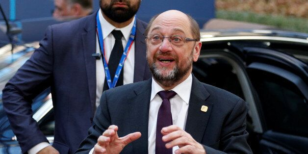 European Parliament President Martin Schulz arrives at a European Union leaders summit in Brussels, Belgium...