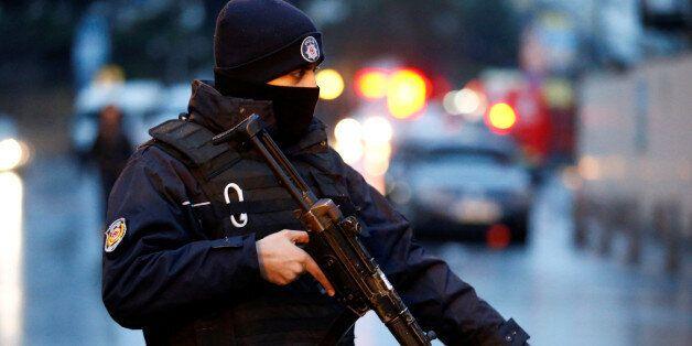 Police secure the area near an Istanbul nightclub, following a gun attack, in Turkey, January 1, 2017....