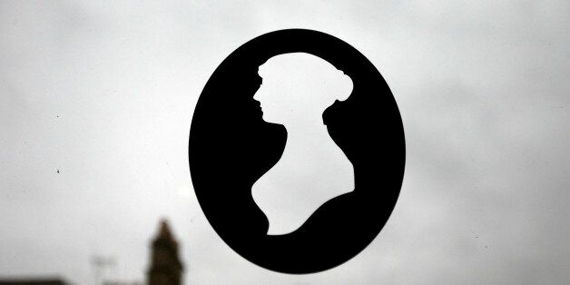 A silhouette of Jane Austen is seen in a window at the Jane Austen Centre in Bath, southern England January...
