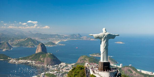 Aerial view of 'Christ The Redeemer' statue with Sugarloaf Mountain, Copacabana Beach and Botafogo Beach...