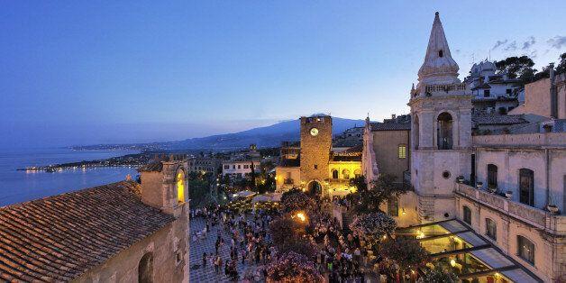 San Salvatore procession, Piazza IX Aprile, Taormina, Sicily,