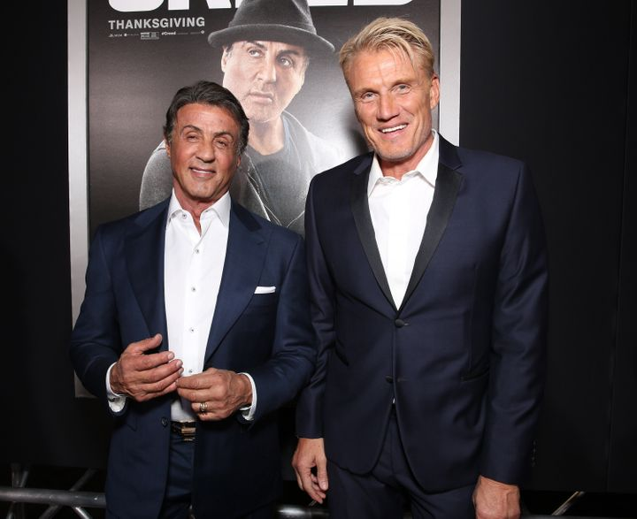 "Stallone and Lundgren attend the premiere of ""Creed"" in 2015."