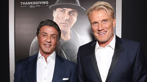 "WESTWOOD, CA - NOVEMBER 19:  Sylvester Stallone (L) and Dolph Lundgren attend the premiere of Warner Bros. Pictures' ""Creed"" at Regency Village Theatre on November 19, 2015 in Westwood, California.  (Photo by Todd Williamson/Getty Images)"
