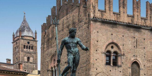 Piazza del Nettuno, Fountain of Neptune in Bologna, Emilia-Romagna,