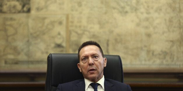 Yannis Stournaras, governor of the Bank of Greece, speaks during an interview at the bank's headquarters...