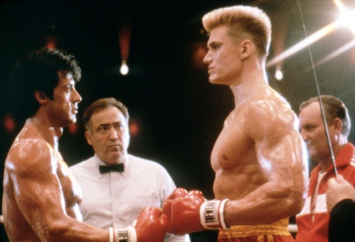 "Sylvester Stallone and Dolph Lundgren face off on the set of ""Rocky IV."""