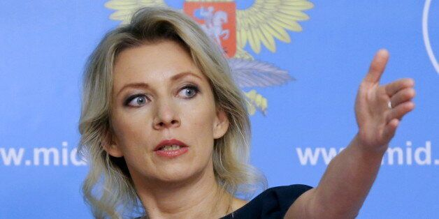 Spokeswoman of the Russian Foreign Ministry Maria Zakharova gestures as she attends a news briefing in...