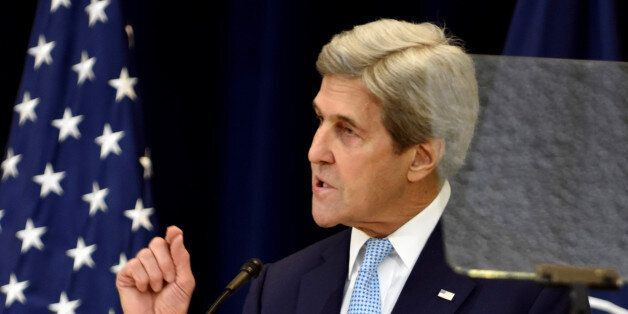 U.S. Secretary of State John Kerry delivers remarks on Middle East peace at the Department of State in...