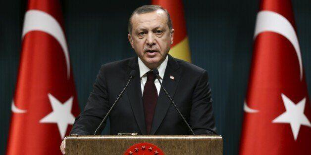 ANKARA, TURKEY - DECEMBER 27: Turkish President Recep Tayyip Erdogan and Guinean President, Alpha Conde...