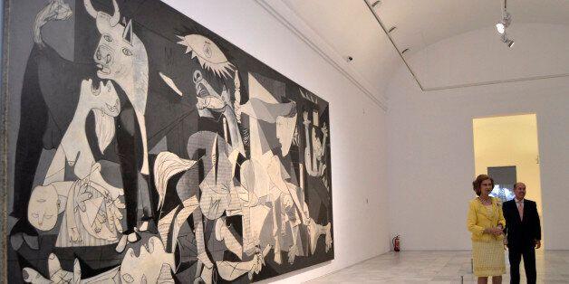 MADRID, SPAIN - OCTOBER 02: Queen Sofia views Guernica by Pablo Picasso at 'Encuentros Con Los Anos Treinta'...