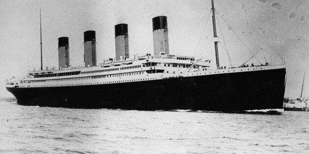 The ill-fated White Star liner RMS Titanic, which struck an iceberg and sank on her maiden voyage across...