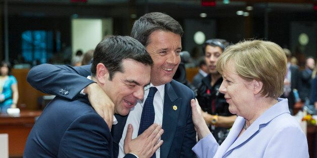 Brussels, Belgium, June 25, 2015. -- Greece Prime Minister Alexis Tsipras (L) is talking with the Italian...