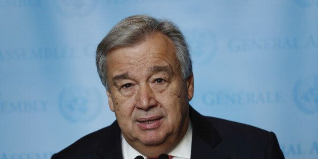 United Nations Secretary-General-designate Mr. Antonio Guterres of Portugal speaks to members of the...