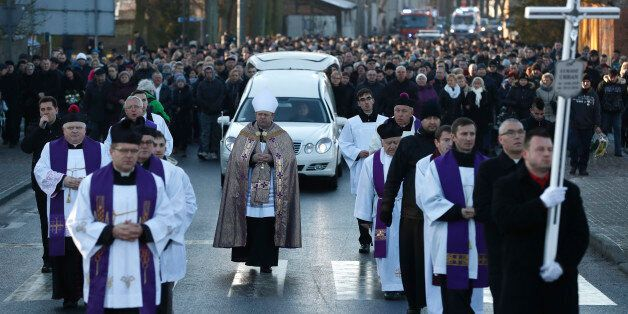 Mourners attend the funeral of Lukasz Urban, the Polish truck driver who was killed in the Berlin Christmas...