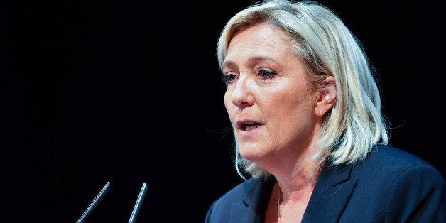 Marine LePen delivers a speech during a meeting called 'Assises du Produire en France' , Reims , 09/09/2016...
