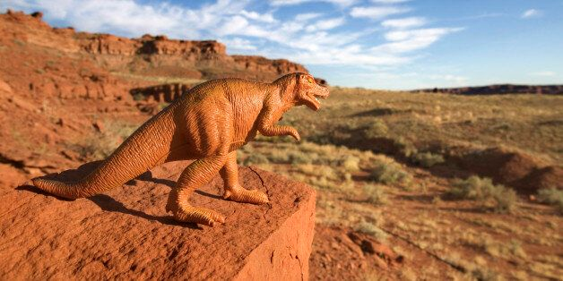 Toy dinosaur on rock outdoors in