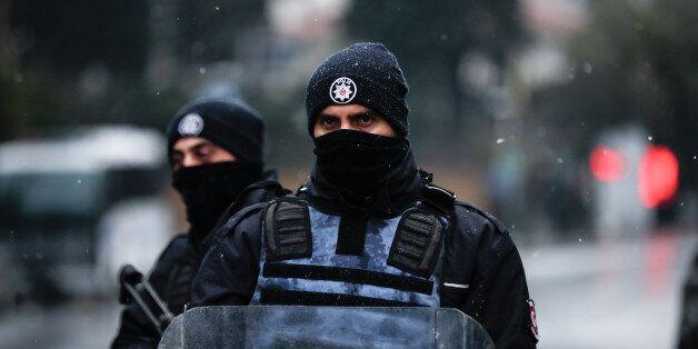 ISTANBUL, TURKEY - JANUARY 1: Police guard an area near an Istanbul nightclub following a gun attack...