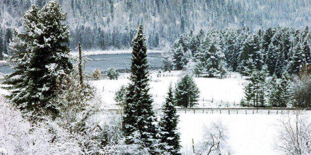 A winter scene in the altai region of russia. (Photo by: Sovfoto/UIG via Getty