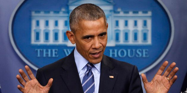President Barack Obama speaks during a news conference in the briefing room of the White House in Washington,...