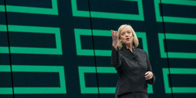 Meg Whitman, chief executive officer of Hewlett Packard Enterprise Co., speaks during the HP Discover 2016 Conference in Las Vegas, Nevada, U.S., on Wednesday, June 8, 2016. Whitman is open to public-cloud partnerships with Amazon.com Inc. and Google after a deal with Microsoft Corp.'s service provided a look at how she'll try to navigate the market with a slimmer company. Photographer: Jacob Kepler/Bloomberg via Getty Images
