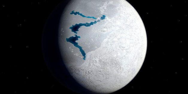 This is how the Earth may have appeared about 650 million years ago during a period when snow and ice...