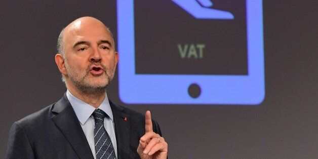 European Commissioner Pierre Moscovici addresses a press conference on new Value Added Tax (VAT) rules...