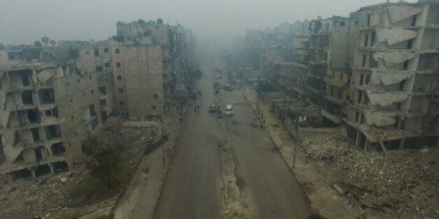 A still image from video taken December 13, 2016 of a general view of bomb damaged eastern Aleppo, Syria...