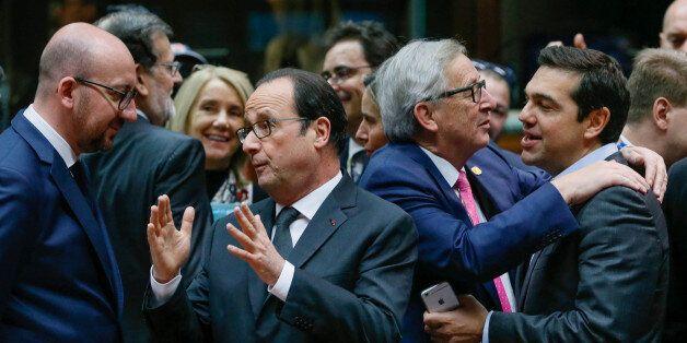 (L-R) Belgium's Prime Minister Charles Michel, France's President Francois Hollande, European Commission...