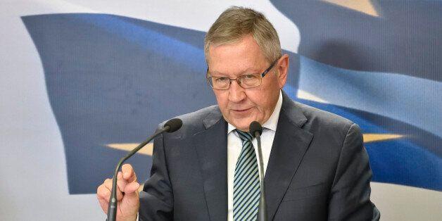 ATHENS, GREECE - JUNE 21: ESM Managing Director Klaus Regling speaks at the press conference held alongside...