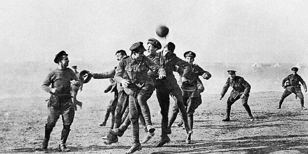 Photograph of soldiers playing football in No-Man's Land during the Christmas Truce. Dated 1914. (Photo...