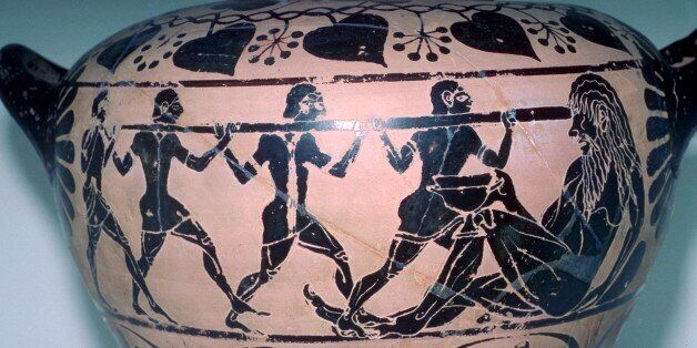 Polyphemus is having his eye put out by Odysseus and his companions. This vase is from an Etruscan tomb....