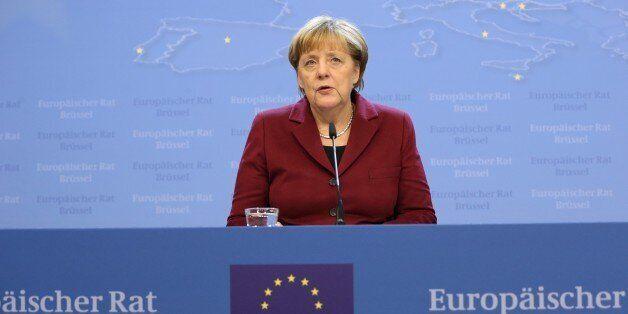 BRUSSELS, BELGIUM - DECEMBER 15: German Chancellor Angela Merkel attends a press conference after the...