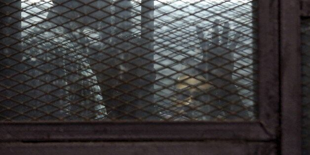 Al Jazeera television journalists Mohamed Fahmy and Baher Mohamed are seen behind bars before hearing...