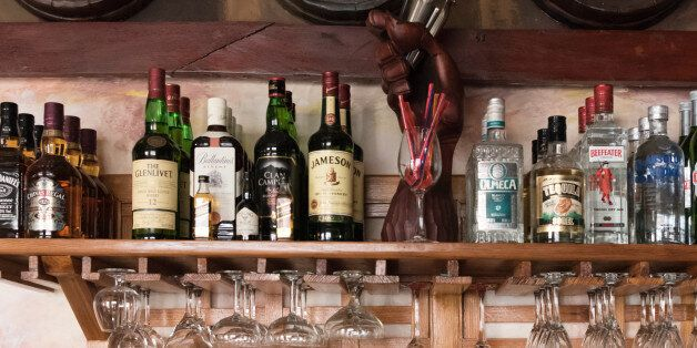 SANTIAGO DE CUBA, CUBA - 2016/11/21: Emilio Bacardi House of Rum: brand name labels in oak wooden barrels...
