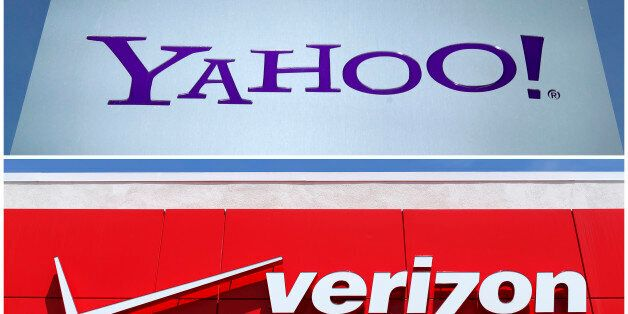 A combination photo shows Yahoo logo in Rolle, Switzerland (top) in 2012 and a Verizon sign at a retail...