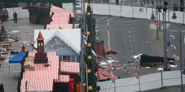 A general view shows the scene where a truck ploughed into a crowded Christmas market in the German capital...