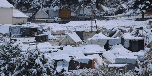 View of Petra refugee camp, located on the feet of Olympus mountain in northern Greece near the village...