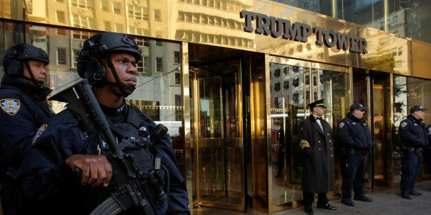 Members of the New York Police Department's Counterterrorism Bureau stand watch outside U.S. Republican...