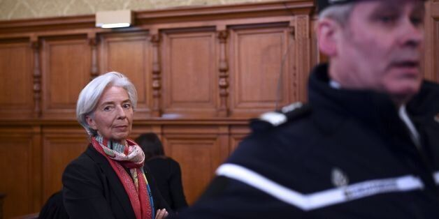 IMF chief Christine Lagarde is pictured in the courtroom at the Paris courthouse on December 12, 2016...