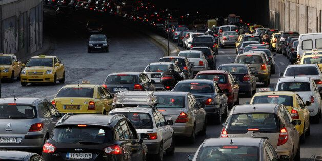 Vehicles stuck in a traffic jam at a main avenue are seen during a 24-hour strike at urban transport...