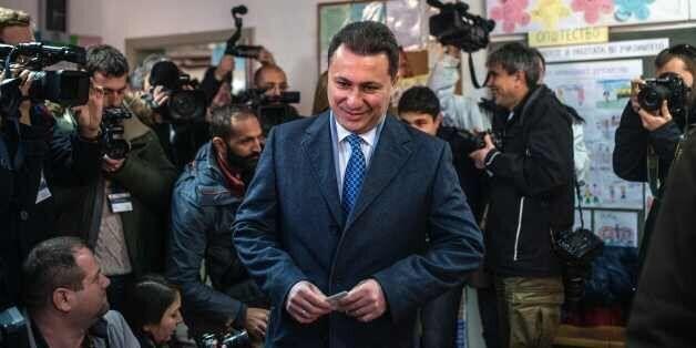 Macedonia's former prime minister and leader of the ruling VMRO DPMNE Nikola Gruevski arrives to cast...