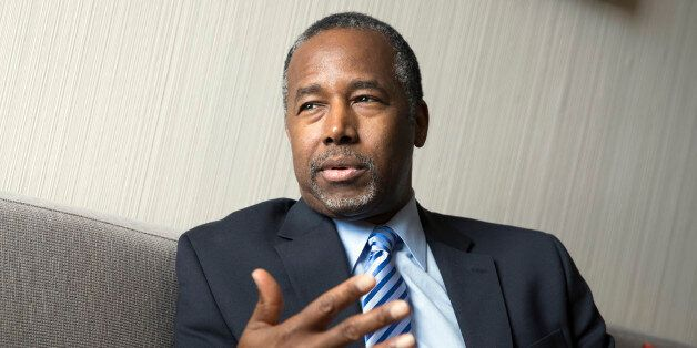 Ben Carson speaks during an interview with The Associated Press at the Republican National Convention,...