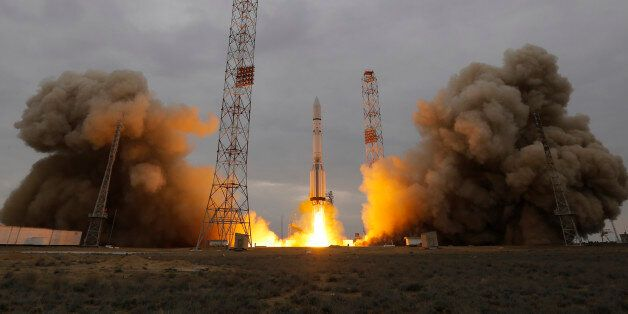 The Proton-M rocket booster blasts off at the Russian leased Baikonur cosmodrome, Kazakhstan, Monday,...