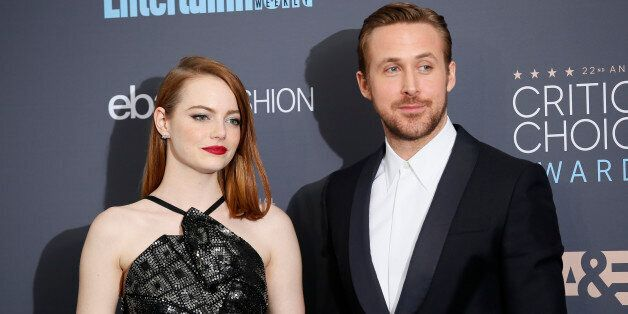 Actors Emma Stone and Ryan Gosling pose backstage during the 22nd Annual Critics' Choice Awards in Santa...